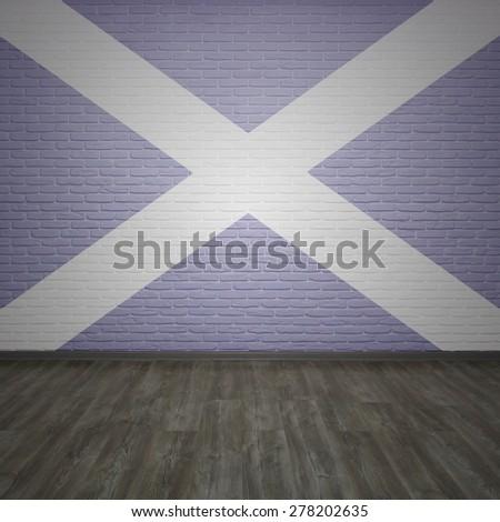 Scotland flag on brick wall background