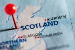 Scotland pinned on a map of Europe.