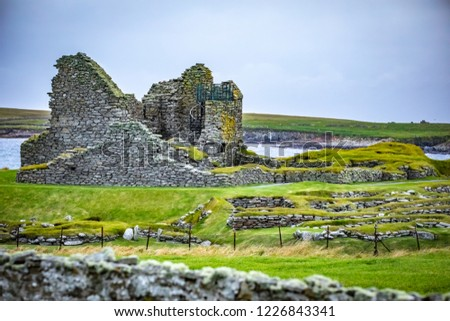 Scotland, Shetland Islands, Jarlshof is the best known prehistoric archaeological site in Shetland, Scotland.