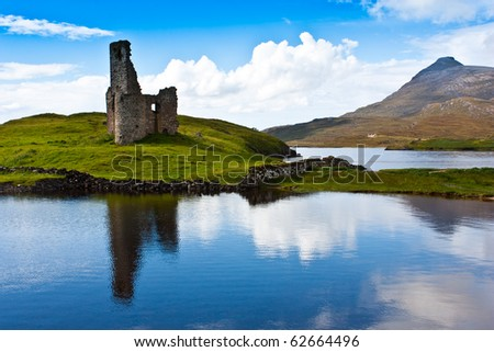 Scotland, Sutherland. Path to a ruiner of Scottish caste.