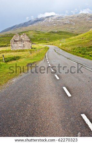 Scotland, Sutherland. Road prospective, useful conceptual of trip