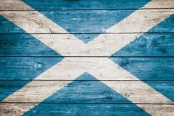 scottish flag on wood texture background