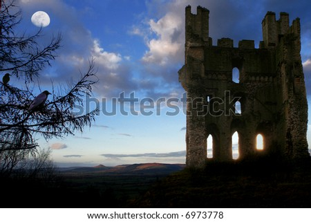 Scottish Haunted Tower at Dusk with Moon and rolling Hills in background, glowing shafts of light through lower windows and Crows nesting in turret and in Fir Tree in forground