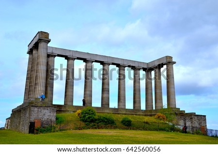 Scottish National Monument, to commemorate the Scottish soldiers killed in the Napoleonic Wars. Sits on Calton Hill at the end of Prinecess Street. May 2017. Edinburgh. Scotland.