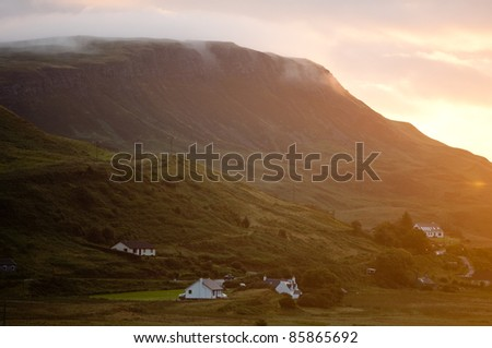scottish village in sunrise