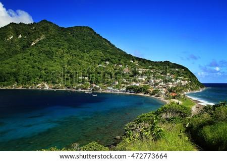 Scotts head fishing village in Dominica, Caribbean Islands Stockfoto ©