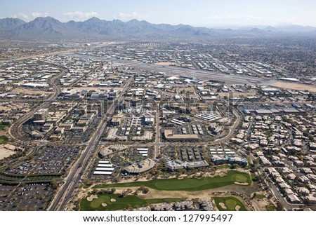 Scottsdale, Arizona Airport and surrounding shopping, restaurants and work places