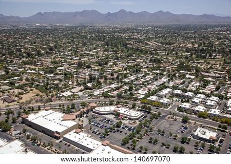 Scottsdale, Arizona restaurants and rooftops aerial view