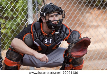 SCOTTSDALE, ARIZONA, USA – FEBRUARY 19: San Francisco Giants catcher Buster Posey at Spring Training in Scottsdale Arizona on February 19 2012.