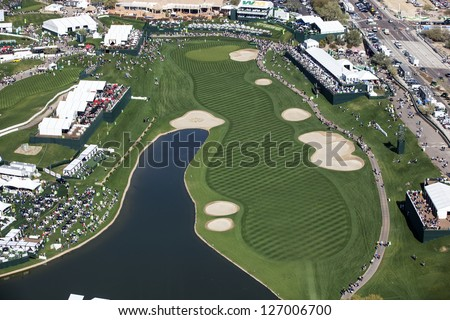 SCOTTSDALE, ARIZONA, USA-JANUARY 31, 2013-Aerial view of the Waste Management Phoenix Open on January 31, 2013 in Scottsdale, Arizona at the Tournament of Players Club Scottsdale (TPC)