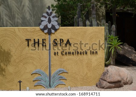 SCOTTSDALE, AZ - February 19, 2010: Entrance sign for The Spa at Camelback Inn, Scottsdale, Arizona. The JW Marriott property offers skincare, facials, massage, hair and nail services and more.