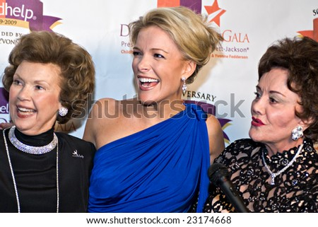SCOTTSDALE, AZ - JANUARY 10: Childhelp co-founders Yvonne Fedderson and Sara O'Meara with Fox News anchor Megyn Kelly at the Childhelp Drive the Dream Gala on January 10, 2009 in Scottsdale, AZ.