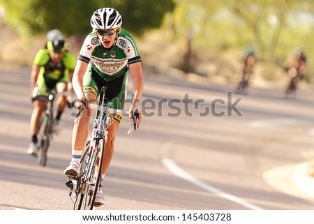 SCOTTSDALE, AZ - MAY 19: Brandon McNulty competes in the Criterium at DC Ranch, a high-speed circuit race on a 1-kilometer closed course on May 19, 2013 in Scottsdale, AZ.