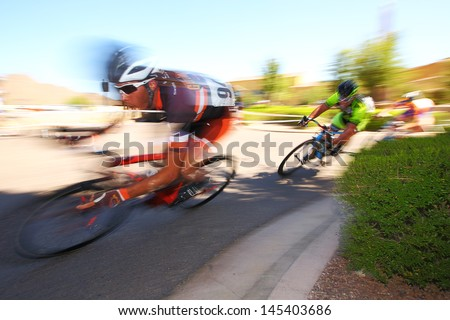 SCOTTSDALE, AZ - MAY 19: Daniel Eaton competes in the Criterium at DC Ranch, a high-speed circuit race on a 1-kilometer closed course on May 19, 2013 in Scottsdale, AZ.