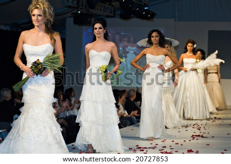 SCOTTSDALE, AZ - NOV 7: Destiny's Bride formal and bridal fashion collection shown at Scottsdale Fashion Week on November 7, 2008 in Scottsdale, AZ - stock photo