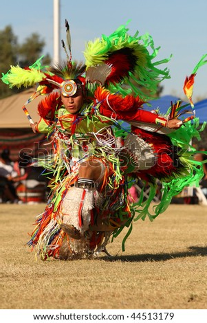 SCOTTSDALE, AZ - NOVEMBER 8: Dancers participate in the 23rd Annual Red Mountain Eagle Pow-wow presented by the Salt River Pima-Maricopa Indian Community on November 8, 2009 in Scottsdale, Arizona.