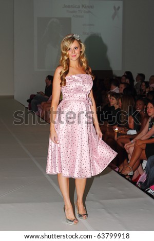 SCOTTSDALE, AZ - OCTOBER 7: Reality TV star Jessica Kinni walks the runway for breast cancer during the Fashionably Pink show at the Phoenix Fashion Week shows on October 7, 2010 in Scottsdale, AZ.