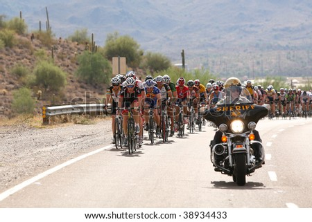 SCOTTSDALE, AZ - OCTOBER 4:The peloton works to safely complete the 70-mile course during the 6th annual Tour de Scottsdale benefiting the McDowell Sonoran Conservancy on Saturday October 4, 2009