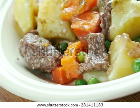 Scouse -  type of lamb or beef stew. stew commonly eaten by sailors throughout Northern Europe, which became popular in seaports  Liverpool.