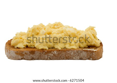 Scrambled eggs on buttered toast