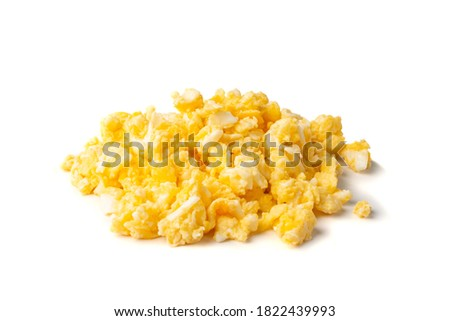 Scrambled eggs or omelet isolated on white background. Breakfast fried eggs stirred or beaten together with salt and butter. Morning hot omelette, fresh omlet Stok fotoğraf ©