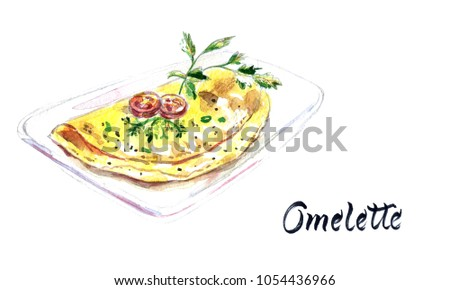 Scrambled eggs with fresh herbs on a white plate, watercolor hand drawn illustration