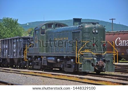 SCRANTON, PA, USA - AUG 7, 2010: Reading Railroad RDG 467 is a Alco RS3 diesel locomotive in Steamtown National Historic Site in Scranton, Pennsylvania, USA. #1448329100