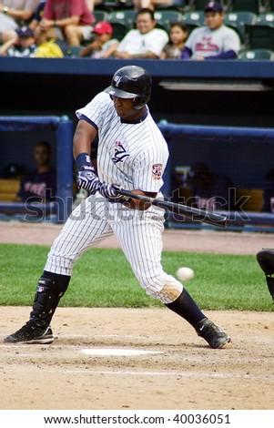 SCRANTON PENNSYLVANIA - JUNE 26: Scranton Wilkes Barre Yankees batter Juan Miranda swings at a pitch against the Columbus Clippers in a game at PNC Field June 26, 2008 in Scranton, PA.