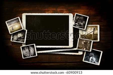 Scrap booking  background on dark wood with photos