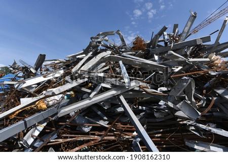 scrap iron and scrap metal, waste and garbage on a junkyard Stockfoto ©