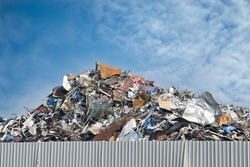 Scrap metal on recycling plant site.