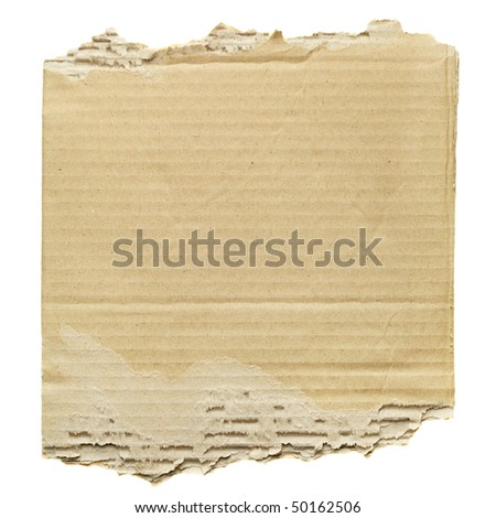 Scrap of cardboard isolated over the white background