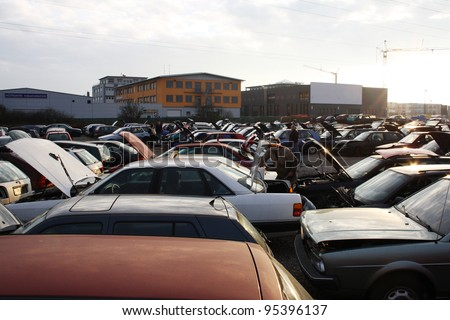 scrap yard for car recycling - stock photo