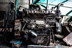 scrap yard for recycle the old car engine engine junkyard In the repair shop
