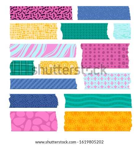 Scrapbook tape. Color patterned borders, decoration adhesive tapes. Paper scotch strips, colorful fabrics tags prints and pieces for scrapbooking card