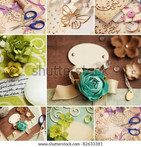 scrapbooking craft materials collage