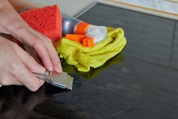 scraper cleaning of electric stoves,clean electric hob after cleaning with a scraper for ceramic induction hob