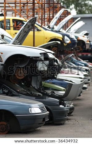 Scrapyard with used, broken cars
