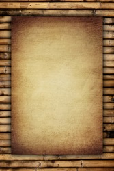 scratch vintage paper on bamboo background
