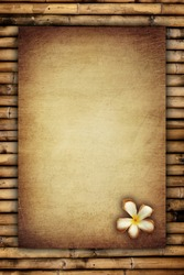 scratch vintage paper with flora on bamboo background
