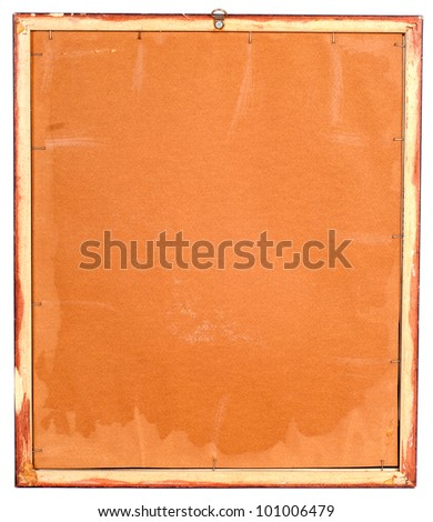 Scratched back or reverse side of framed painting or image on wooden stretcher.Isolated on white background