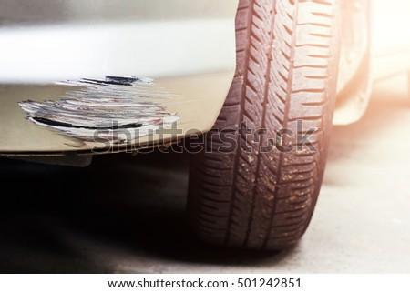 Scratched car. #501242851