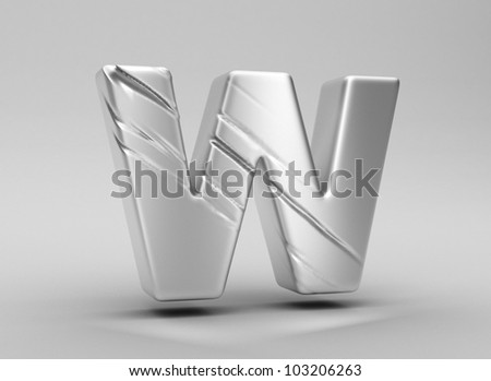 scratched glossy metal 3d letter w WITH ALPHA CHANNEL