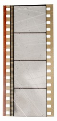 scratched 35mm cine film strip with empty frames isolated on white backgroud with cool texture and optical stereo sound showing the amplitude of the audio signal, analog soundfilm or movietone.