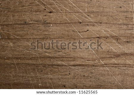 Scratched table.