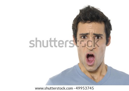 Scream of shocked and scared young man