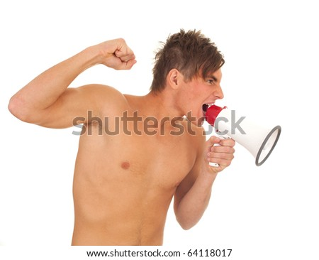 screaming furious shirtless young man with megaphone, isolated