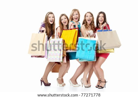 Screaming girls in dresses with shopping