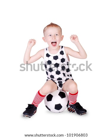 Screaming little football fan  sitting on the ball over white  background