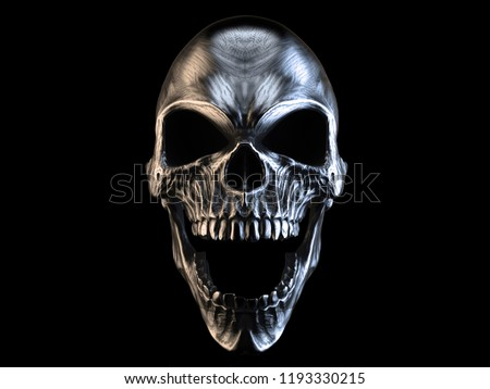 Screaming silver demon skull - 3D Illustration